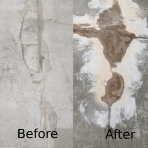 Before and After Photo of self leveling, concrete preparation before putting epoxy coating on the floor
