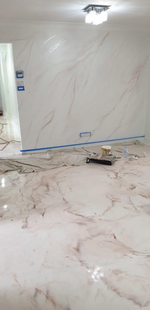 metallic epoxy coating with coffee finish on house floor