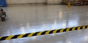 light gray epoxy coating in a warehouse floor
